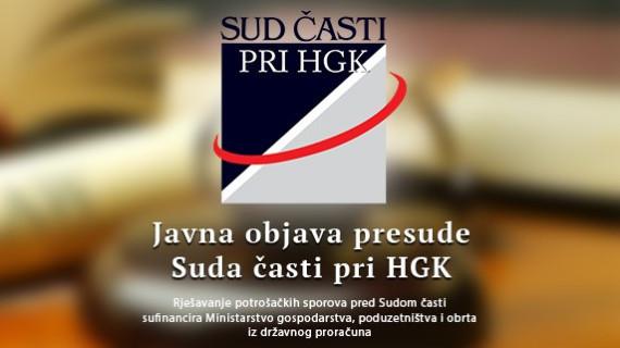 Sud časti pri HGK izrekao javnu opomenu tvrtki DSGN STUDIO d. o. o. iz Jastrebarskog