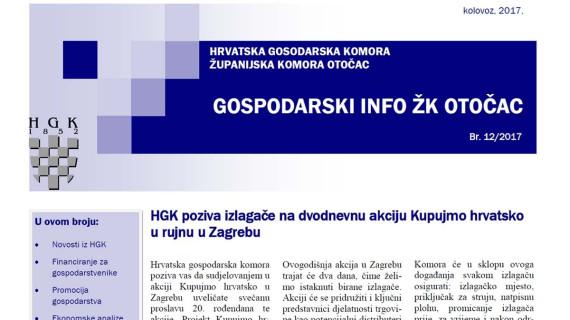 Gospodarski info ŽK Otočac 12/2017