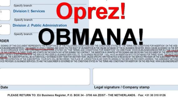UPOZORENJE PODUZETNICIMA – čuvajte se prevare pri popunjavanju obrazaca za poslovne adresare!