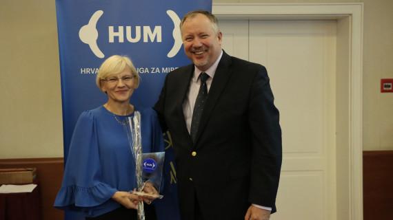 Tajnica Centra za mirenje Mirjana Košec nagrađena za promicanje kulture mira